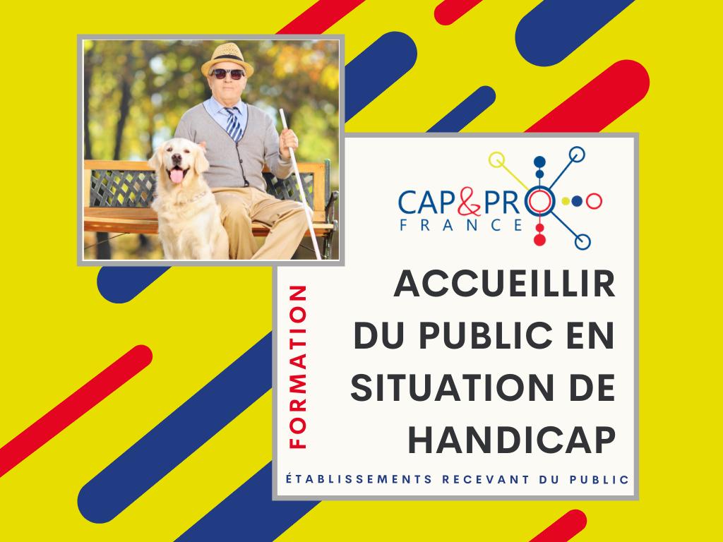 Affiche présentant un homme non-voyant avec un chien d'accompagnement et le texte : Formation CAP & PRO France Accueillir du public en situation de handicap - Etablissements recevant du public
